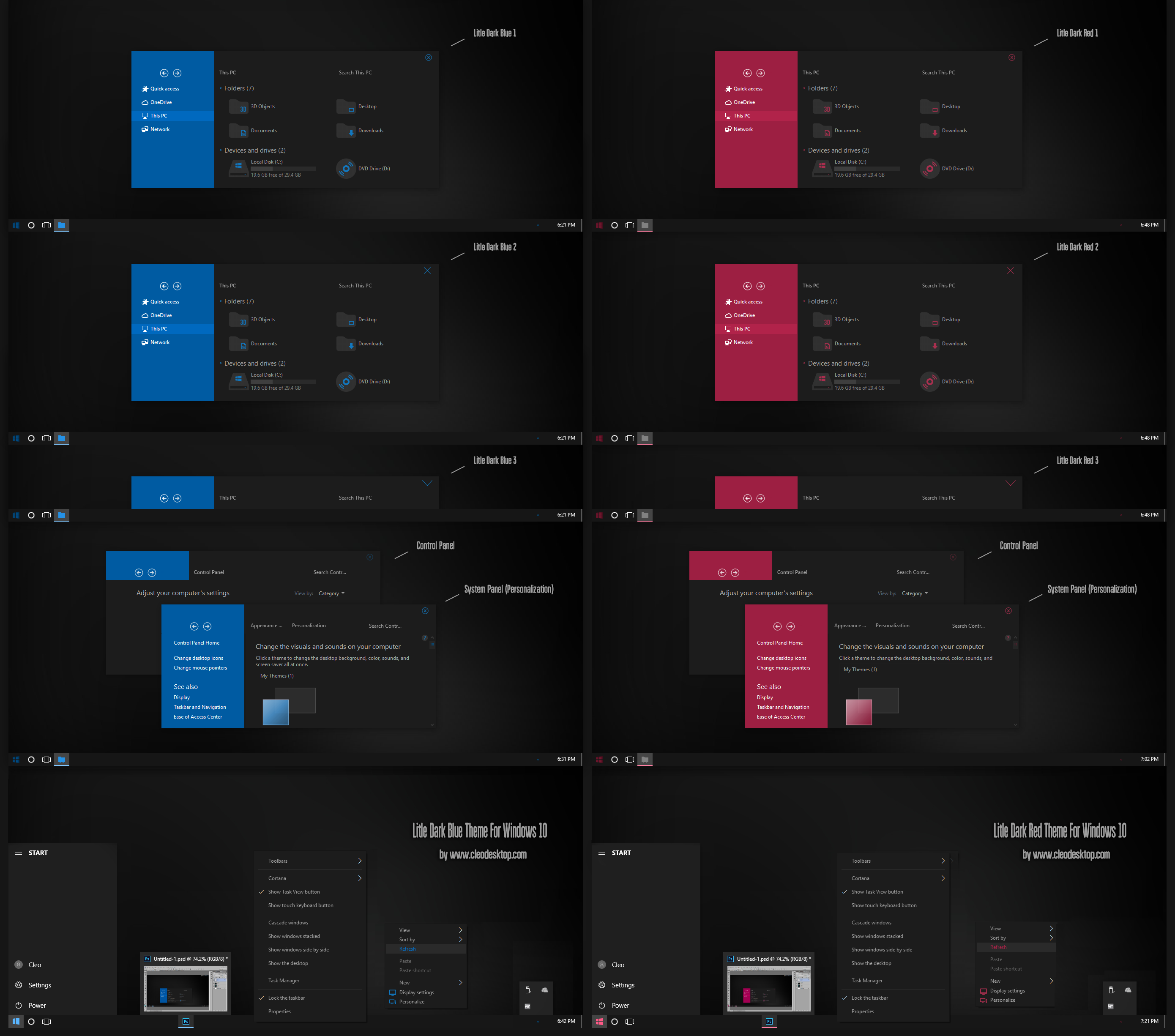 Litle Dark Blue And Red Theme Win10