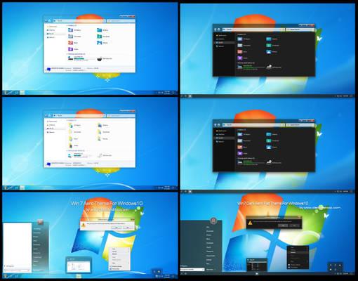 Win7 Dark And Light Aero Theme Win10 2004 And 20H2