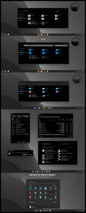 Pure Black Full Round And Squares Theme For Win11