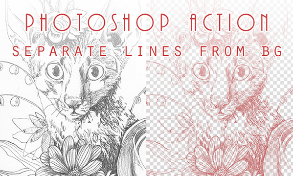 Photoshop Action: separate lines from BG