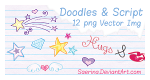 Doodles and Script Vector Img by Saerina