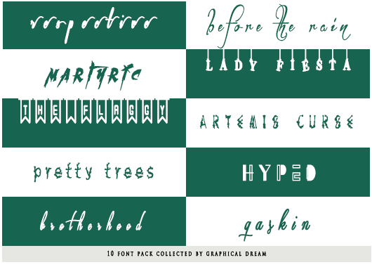 10 Font Pack Collected By Graphical Dream Kopia by Calliste1999