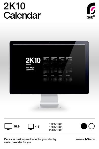 2K10 Desktop Calendar