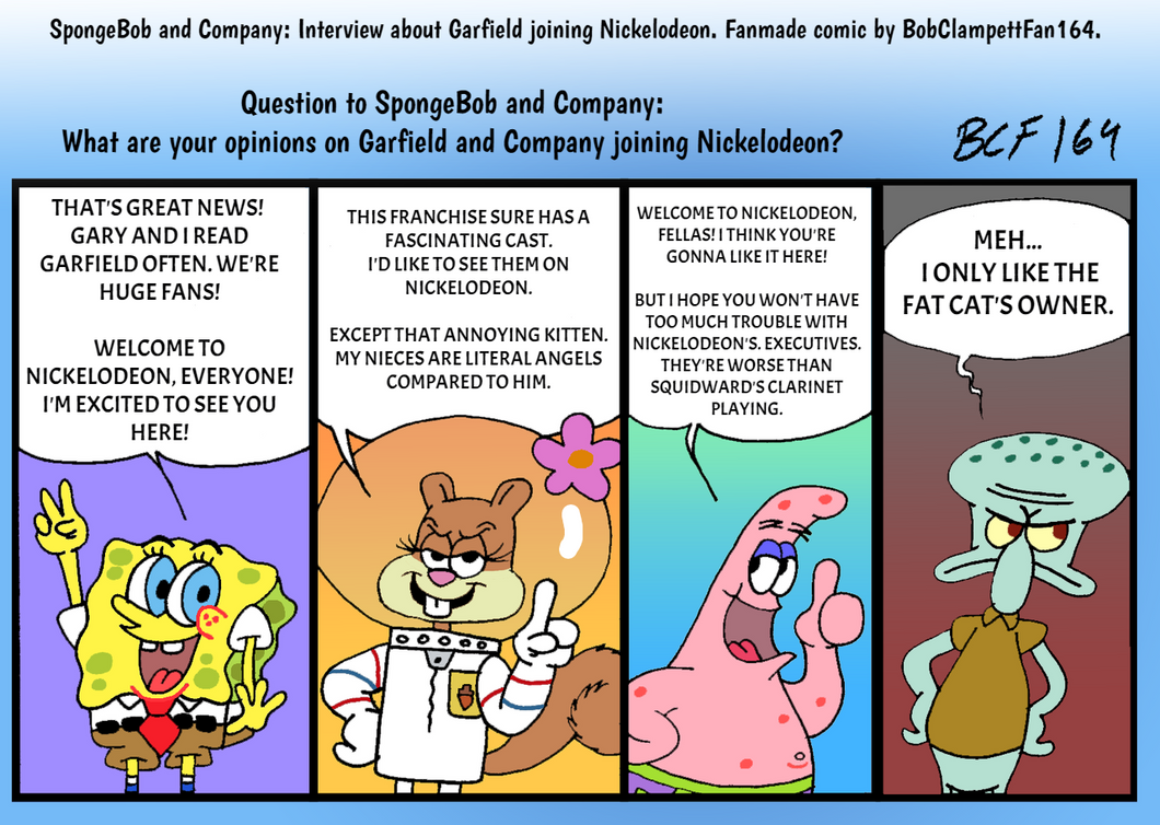 Spongebob And Co Discuss Garfield On Nickelodeon By Bobclampettfan164 On Deviantart