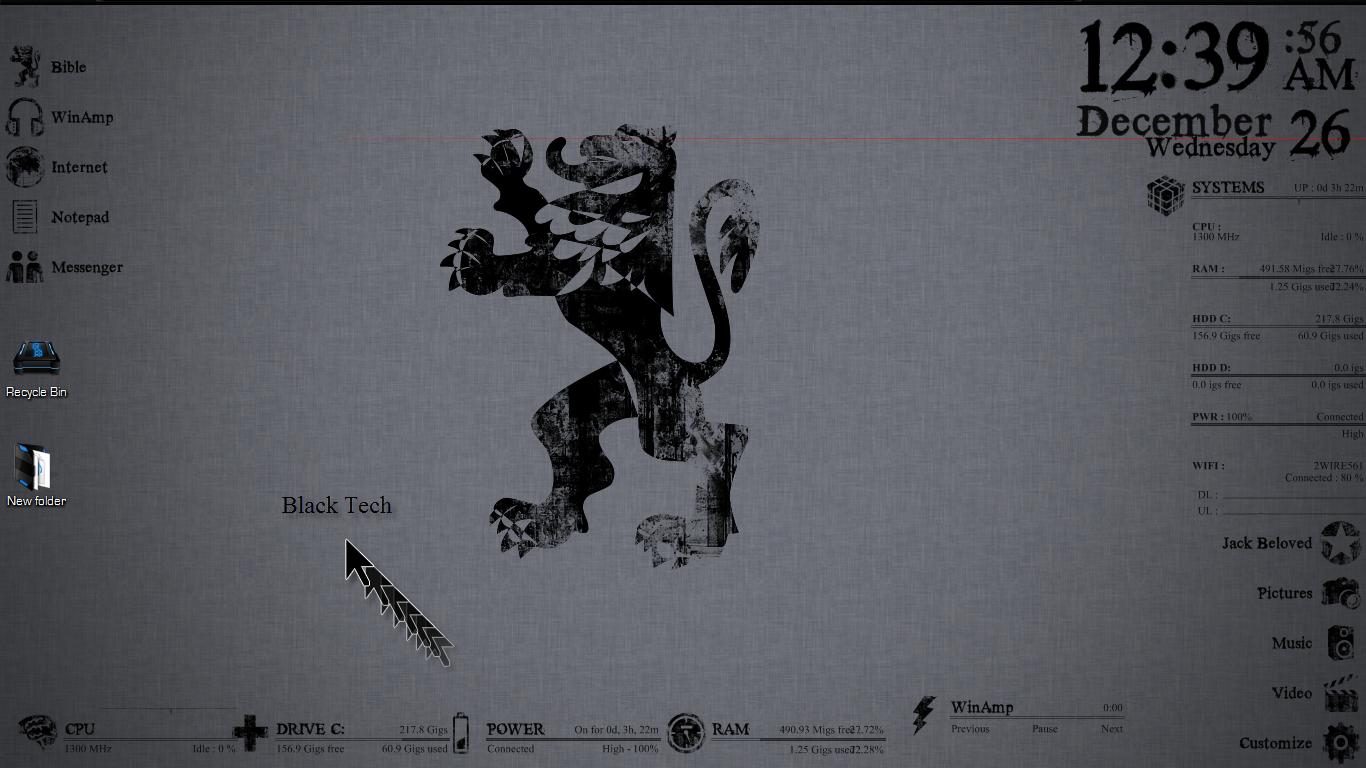 Rainmeter:Black Tech Theme by SparkwareProduction