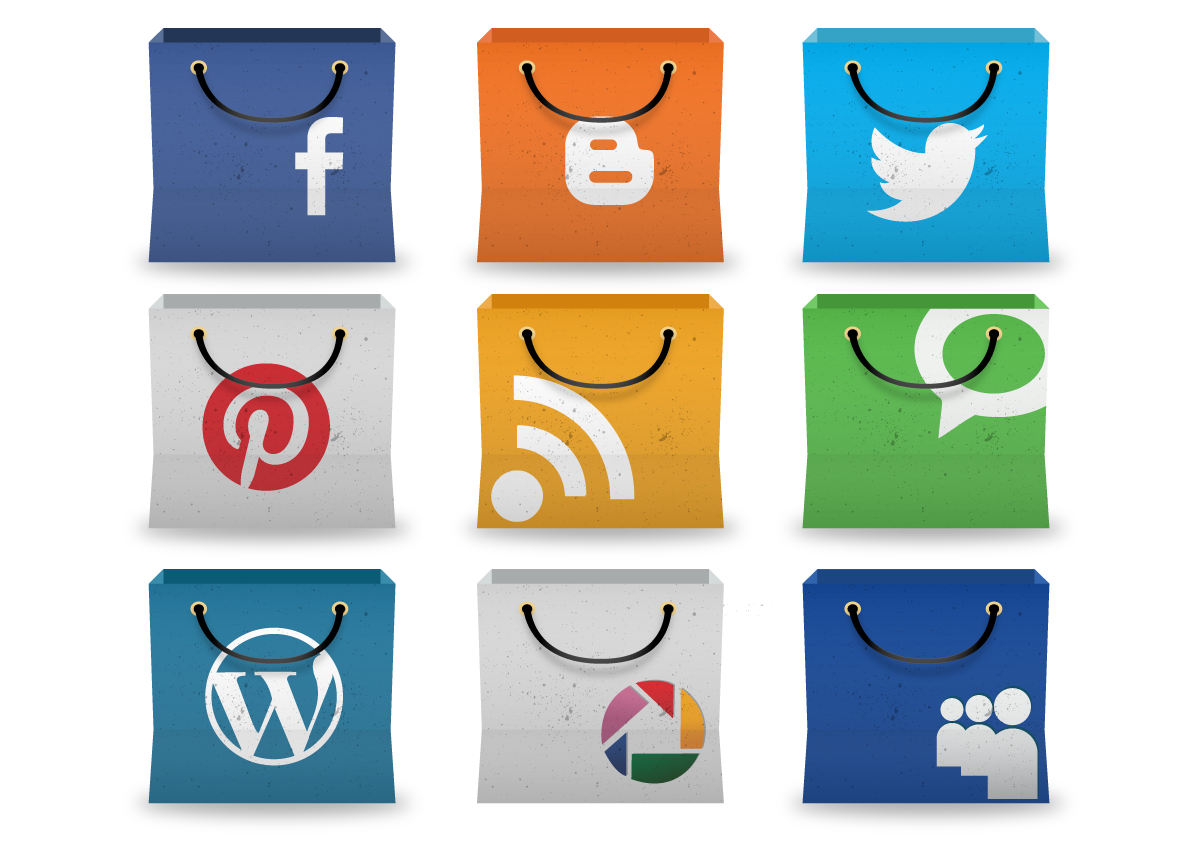 Social Media Icons in Shopping bag