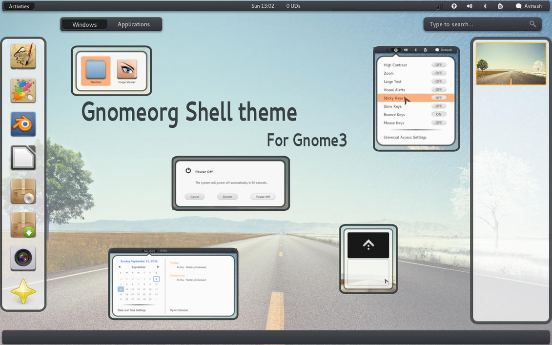 gnomeorg shell theme by justviper
