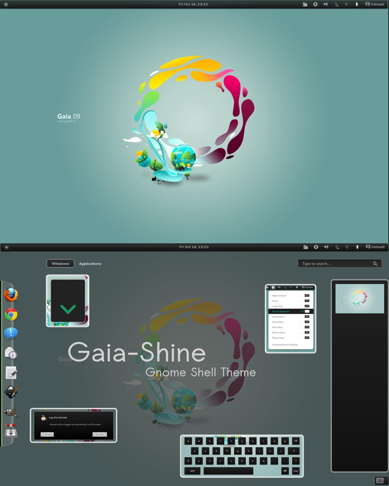 Gaia-shine shell theme by justviper