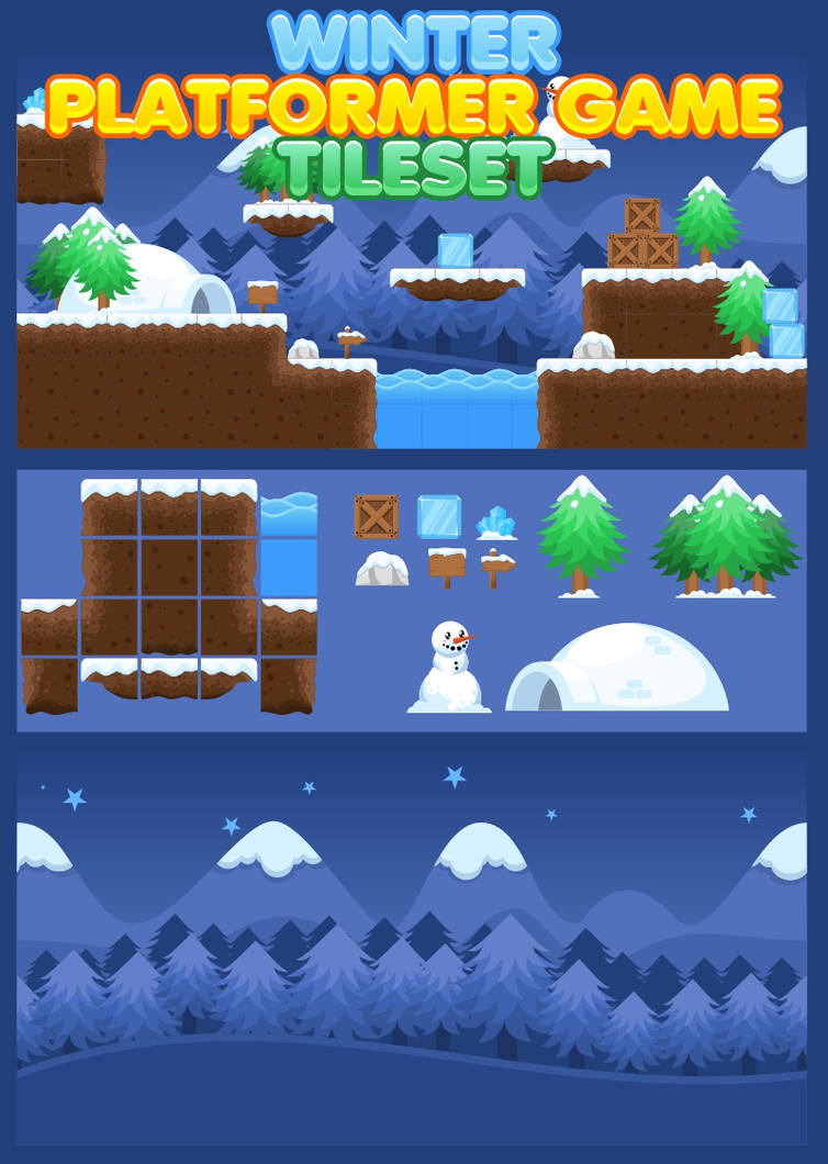 Free Winter Platformer Game Tileset by pzUH on DeviantArt