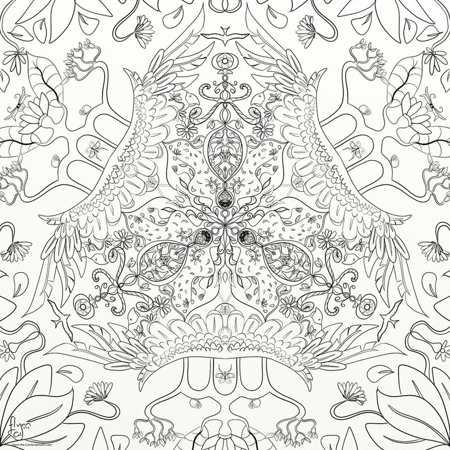 Symmetry of Leaves Colouring Page by Flynn-the-cat