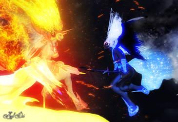 Taiyo-Yasha vs. Tsukioni: Madness and Despair by Axel-Doi