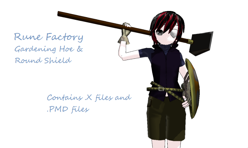 Rune Factory Hoe+Shield DL by scarletrose101