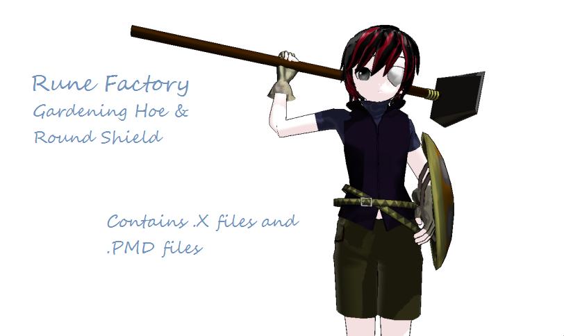 Rune Factory Hoe+Shield DL by scarletrose101