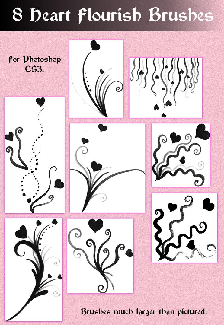 Heart Flourish Brushes for CS3 by Torpedo-Design