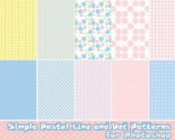 Photoshop Pastel Line and Dot Patterns