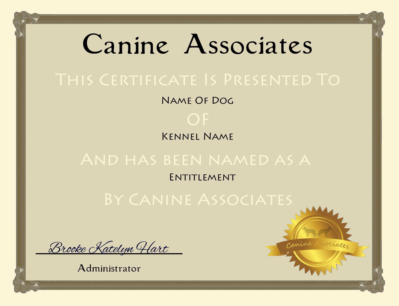 Canine Associates Certificate Template by BlackbirdHeights