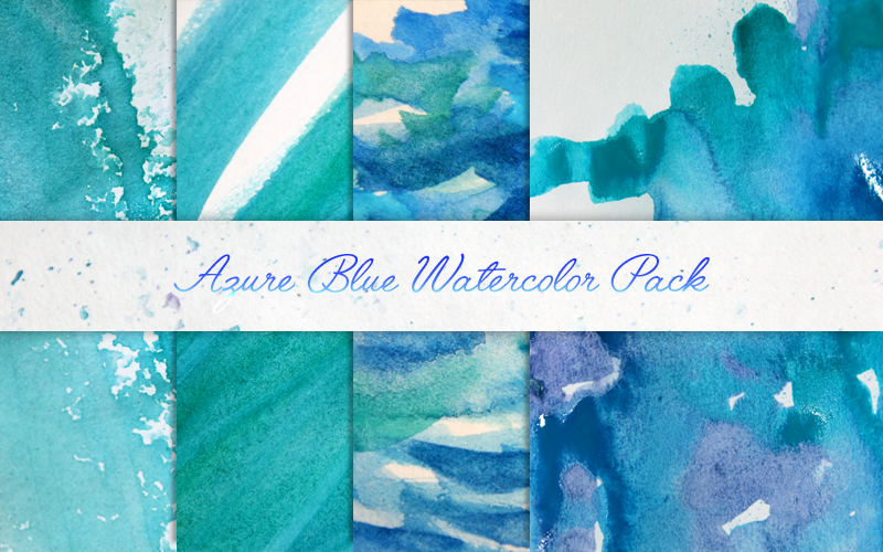 Azure Blue Watercolor Textures Pack by DAimpact-art