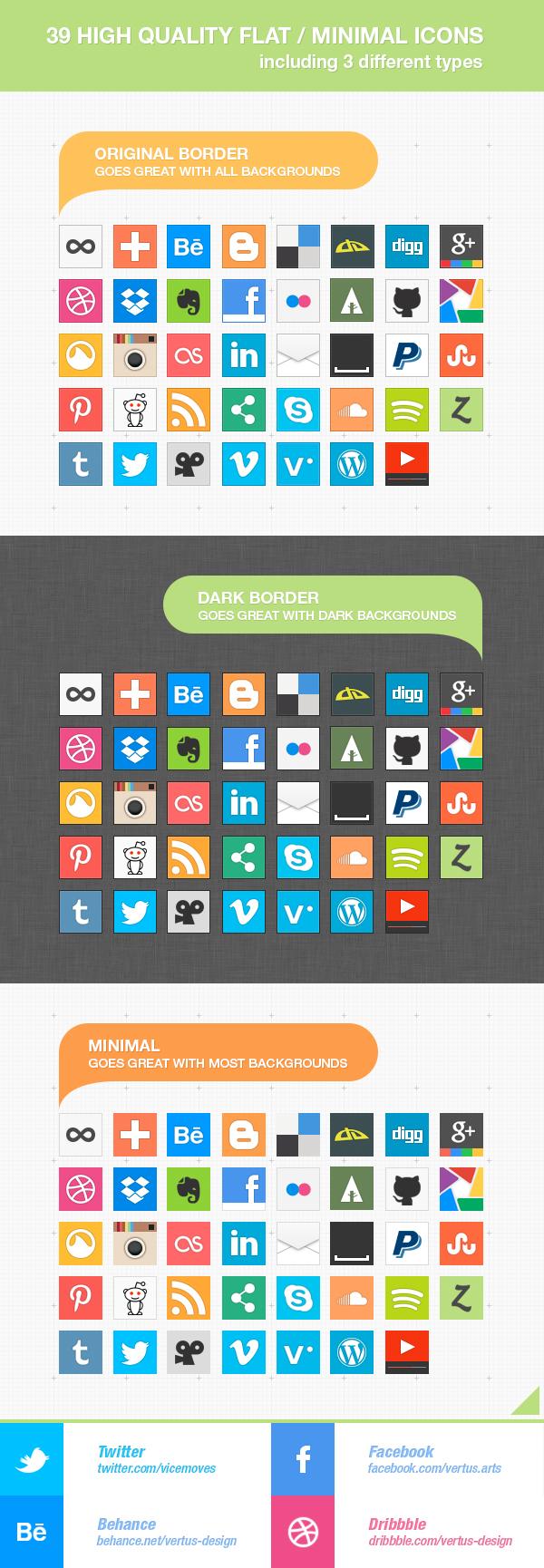 39 Free HQ FLAT Minimal Social Icons by vertus-design