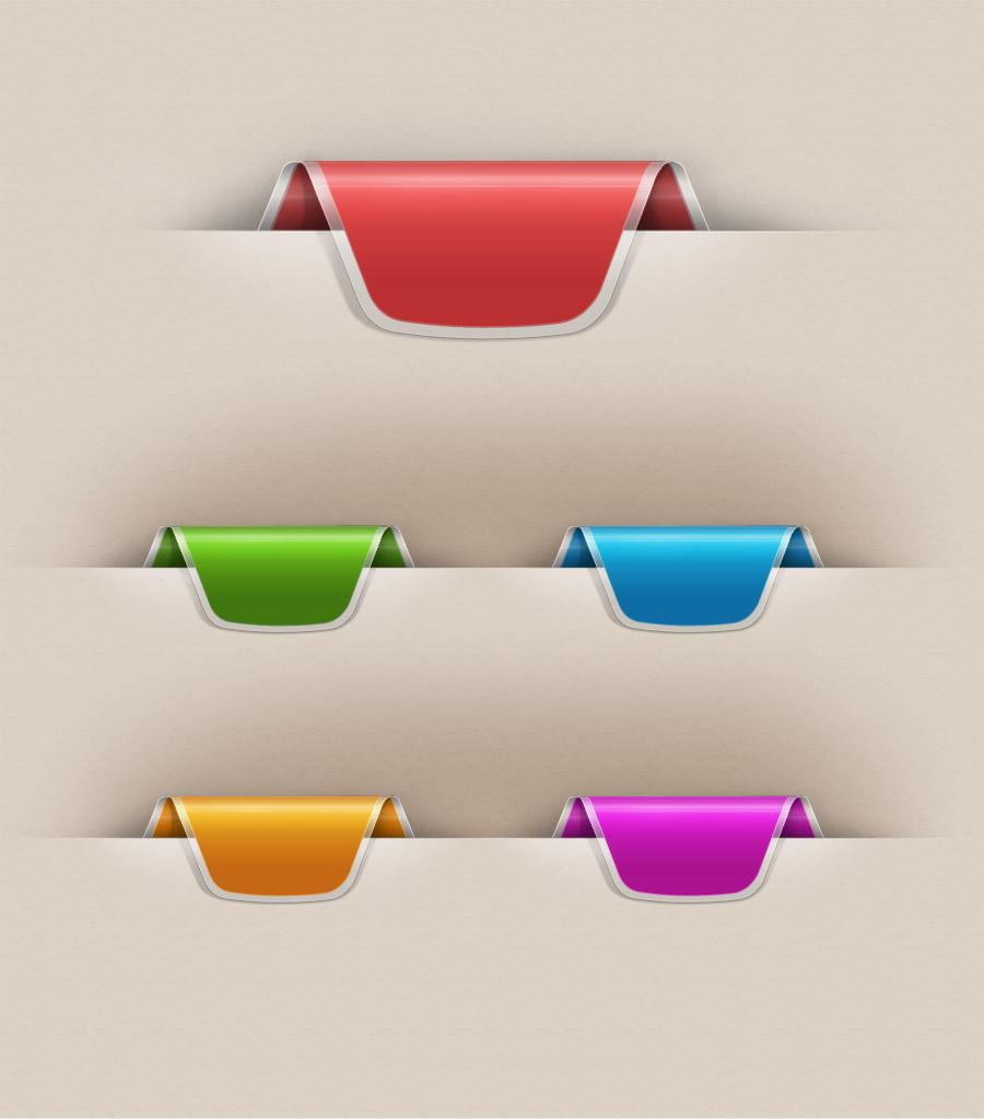 Colorful Web Ribbons Set by vesperTiLo