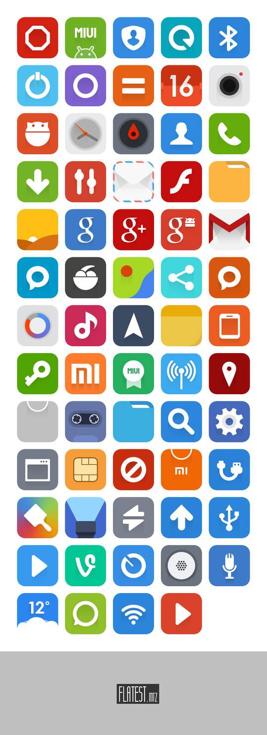 Flatest Icons + MIUI Theme + PSD