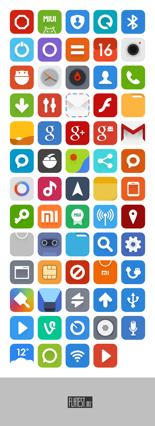 Flatest Icons + MIUI Theme + PSD by FFra