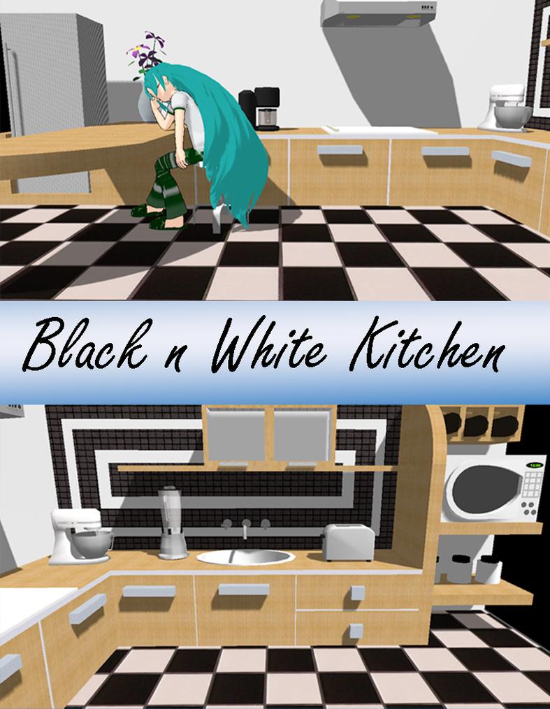 Black N White Kitchens Mmd Black N White Kitchen Dl By Onimau619 On Deviantart