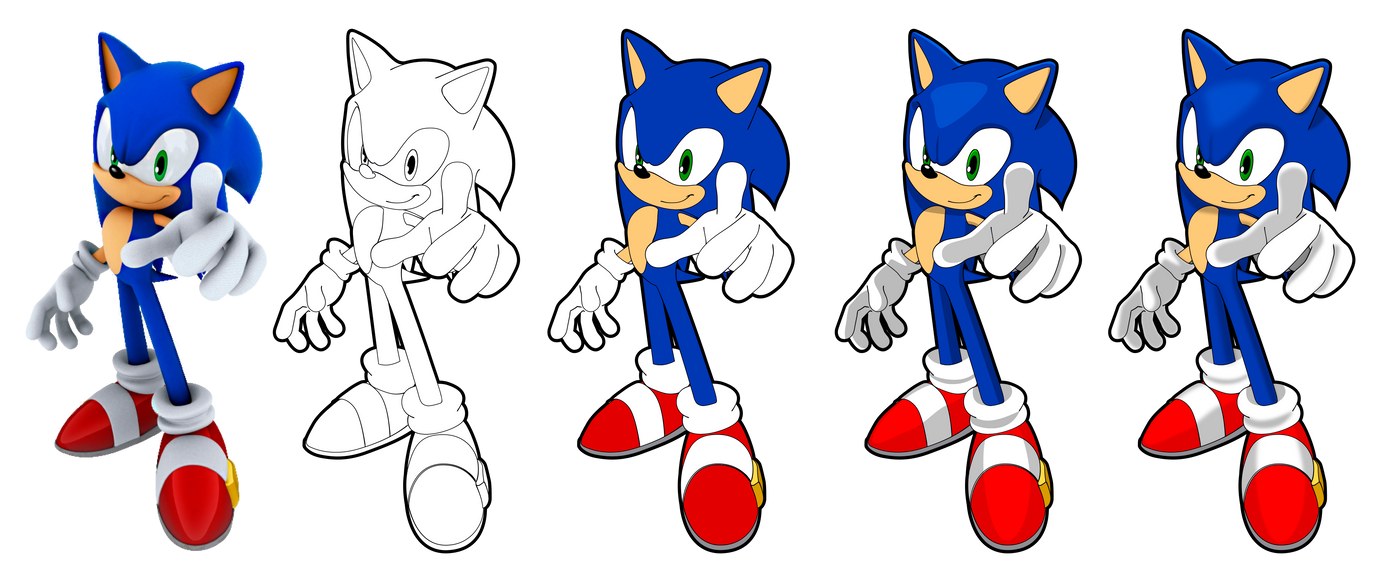 Sonic Vector Drawing by Juliannb4