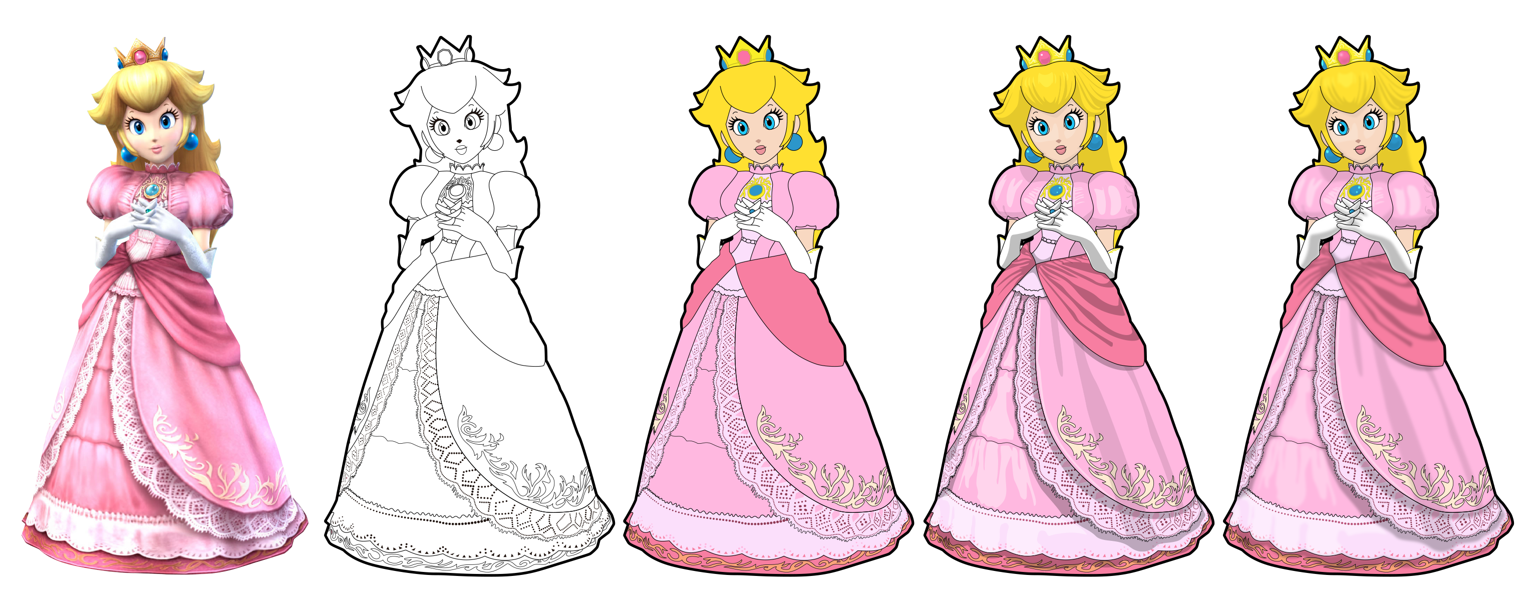 Princess Peach Vector Drawing by Juliannb4