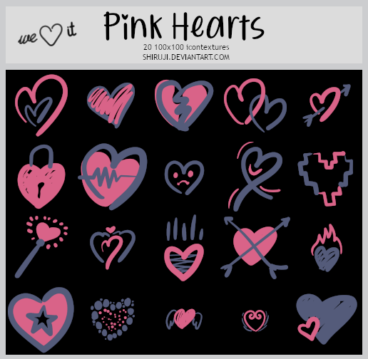 Pink Hearts -100x100icontextures