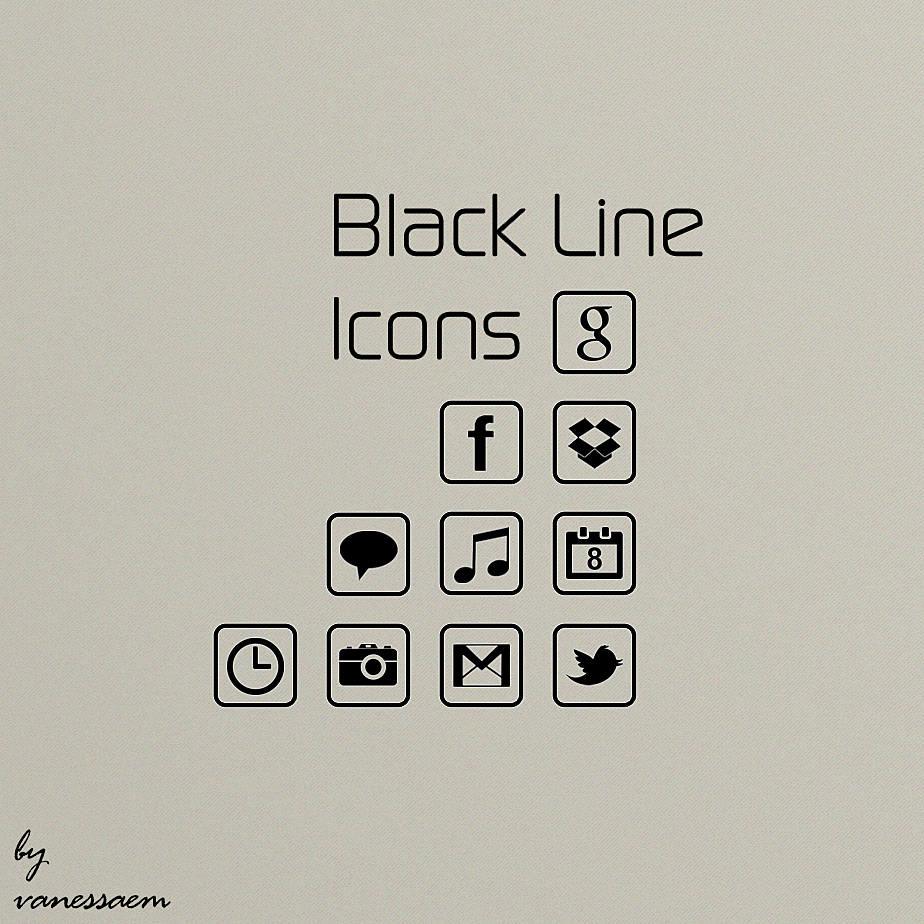 Black Line Icons by vanessaem