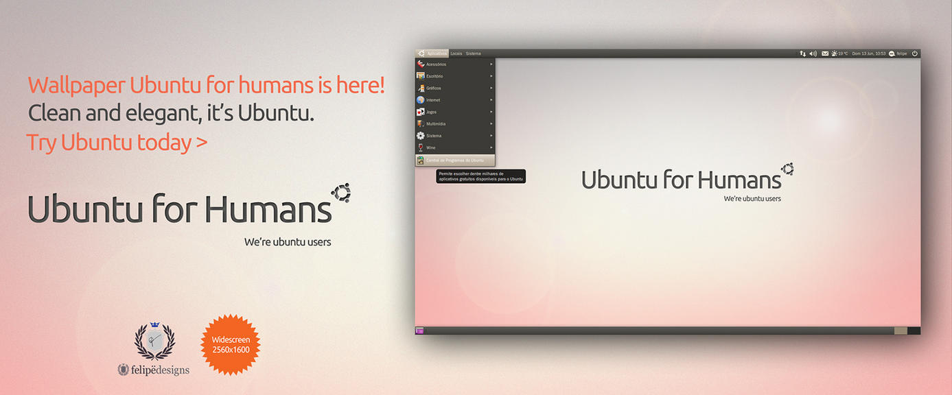 Ubuntu for Humans Wallpaper by Felipi