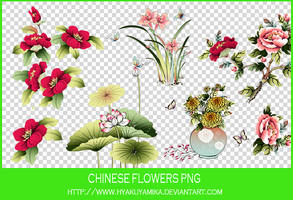 Chinese flowers PNG. by Hyakuyamika