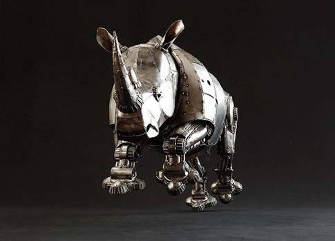 Mechanical Articulated Metal Rhino Charging