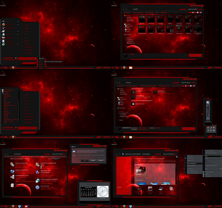Windows 7 theme red line glass by customizewin7 on for Window 07 themes