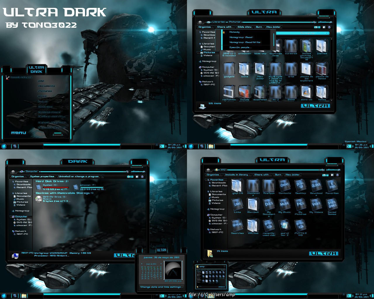 windows 7 theme blue glass ultra dark by customizewin7
