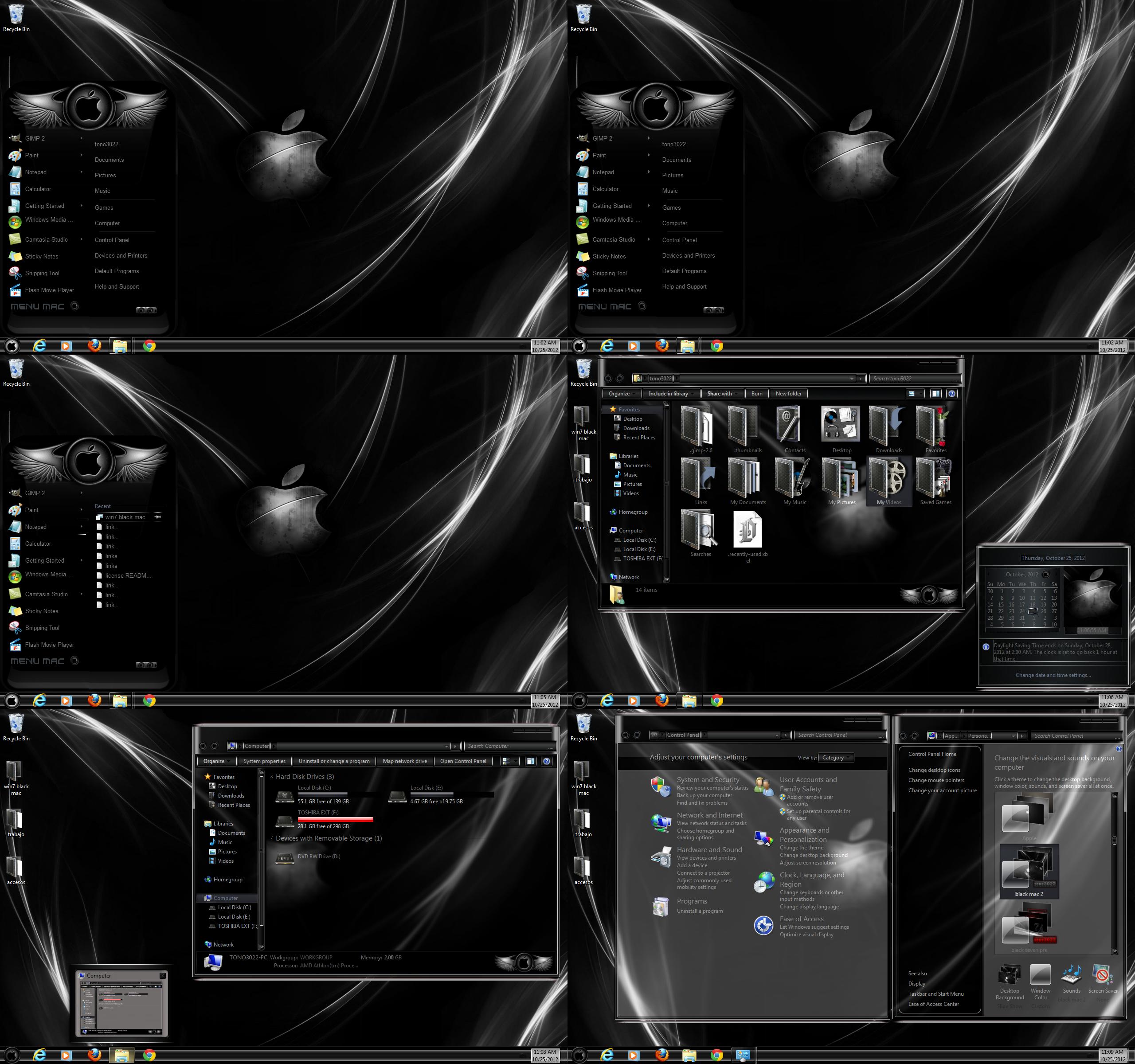 windows 7 theme black glass mac by customizewin7 on DeviantArt