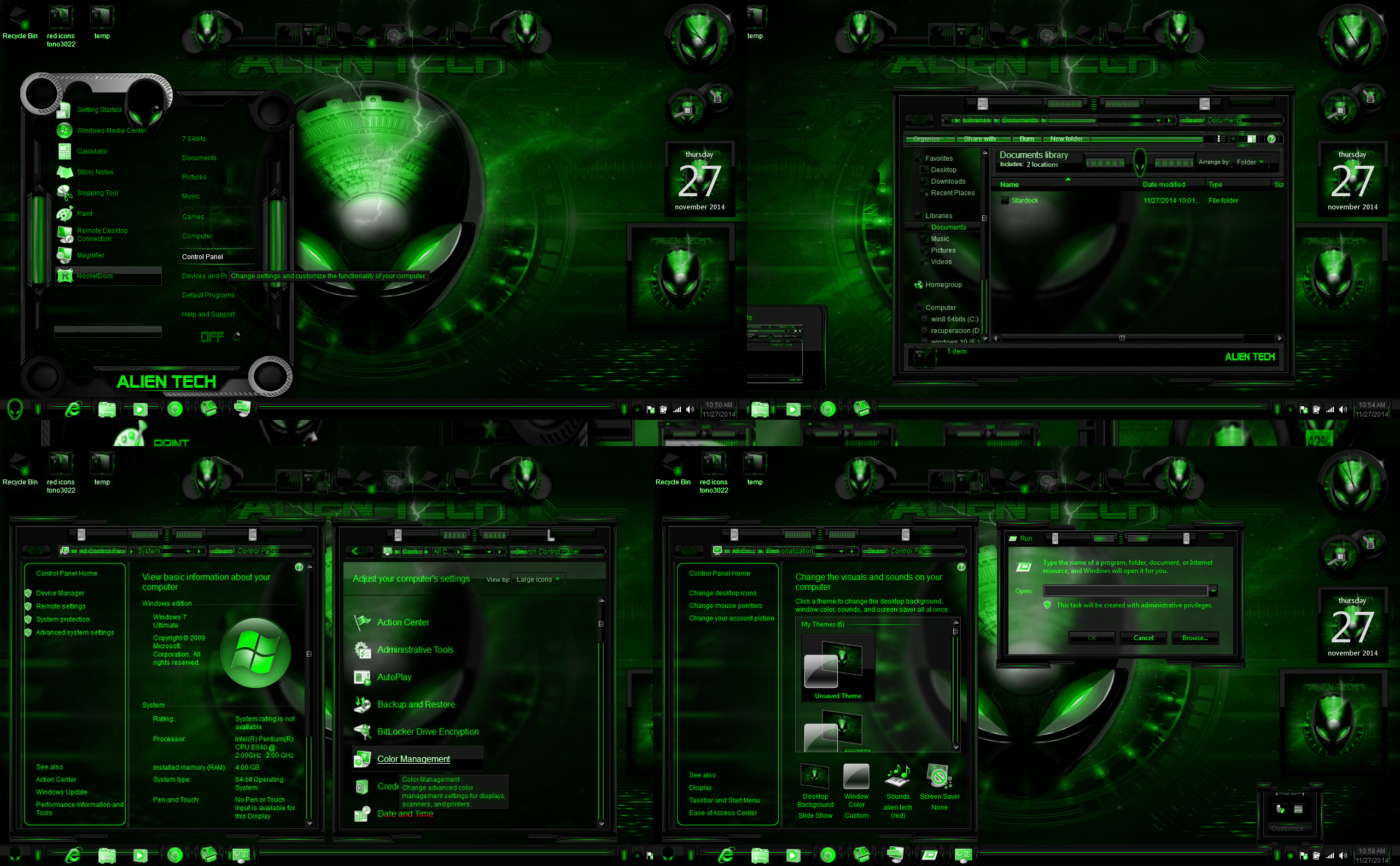 Windows 7 themes alien tech green by customizewin7 on for Window 07 themes