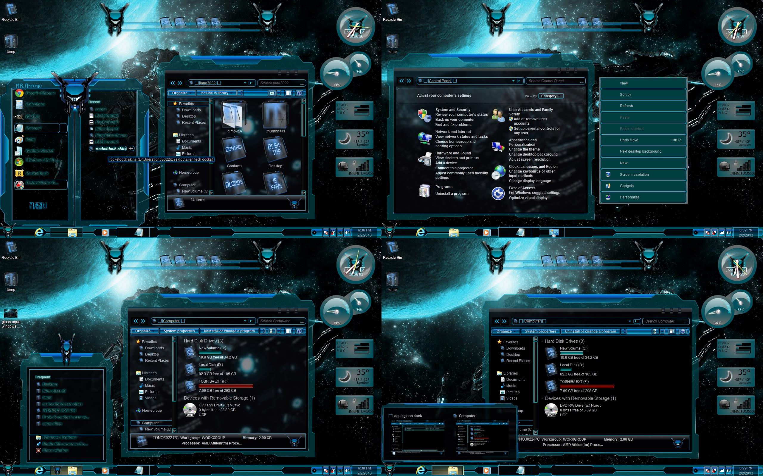 Glass Aqua Windows 7 T...