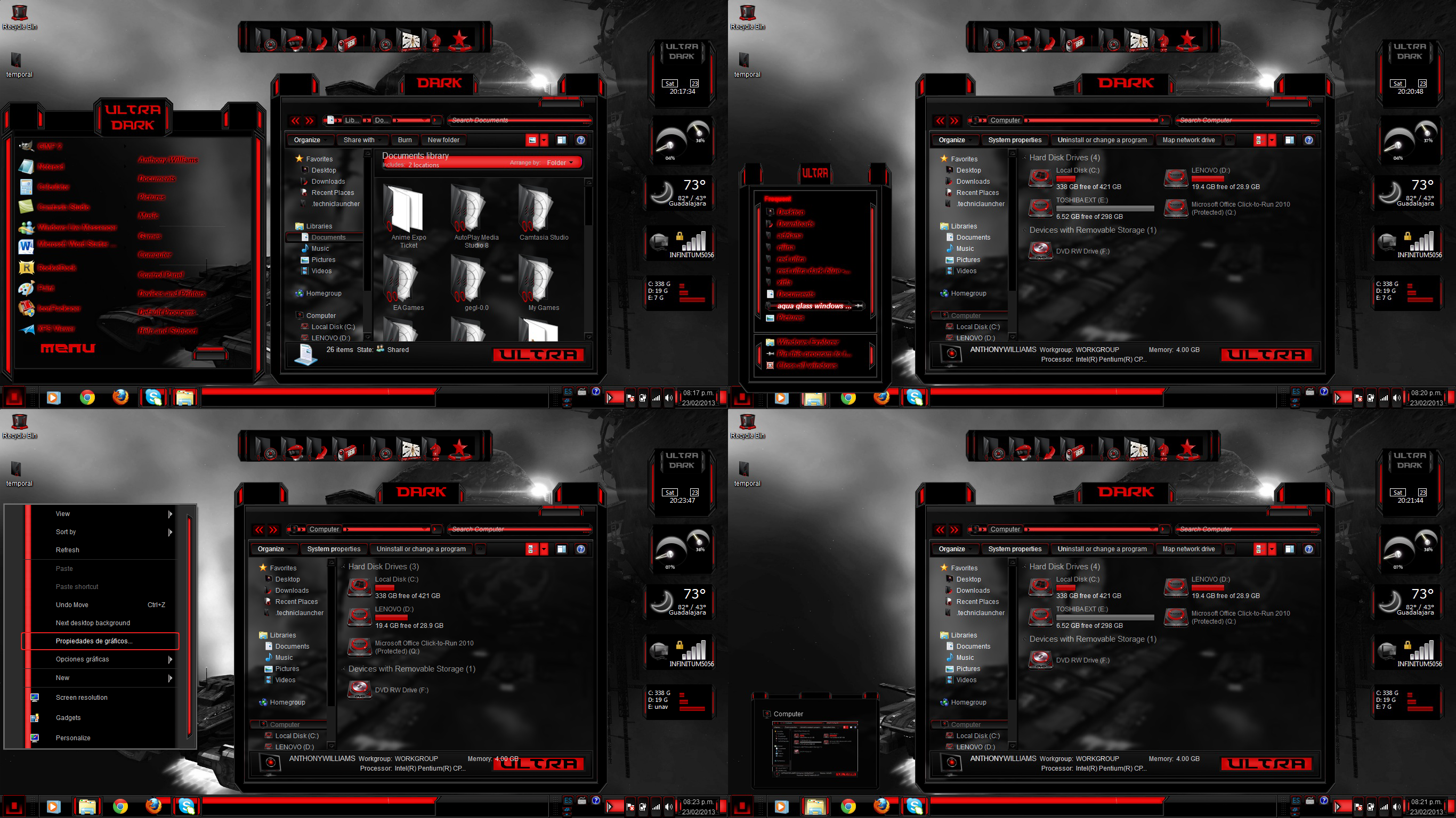 Windows 7 themes black ultra dark by customizewin7 on for Window 07 themes