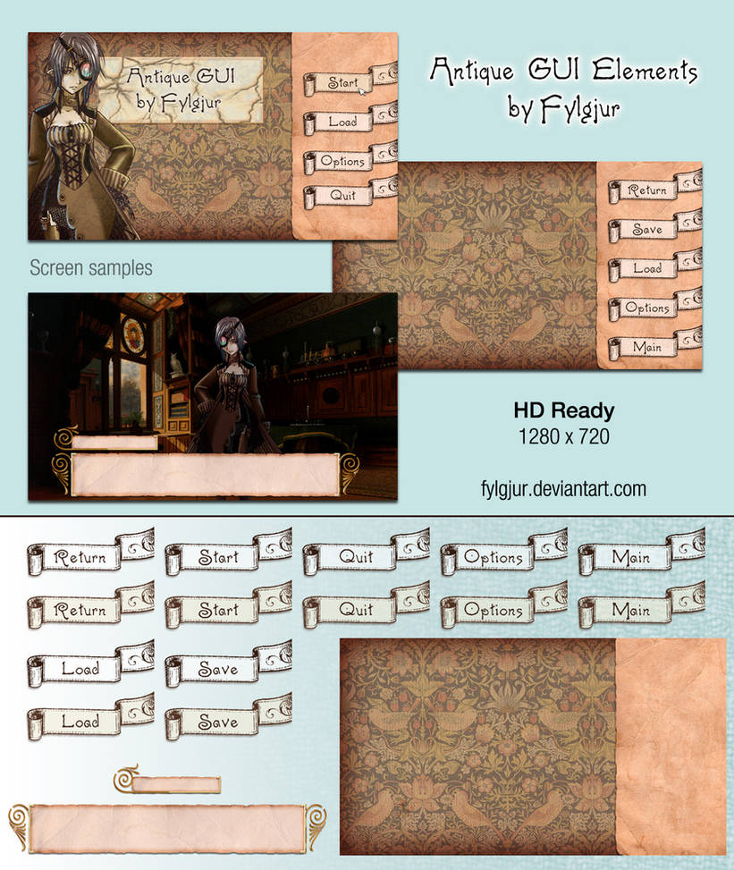 Antique GUI Image Pack for Ren'Py by Cospigeon on DeviantArt