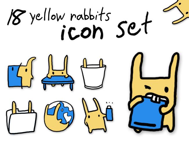 18 Yellow Rabbits Icon Set