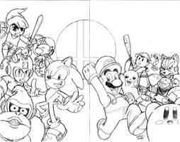 Super Smash Bros. Sketch Cover(2-Page Wrap Around)