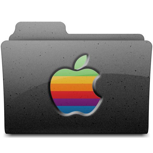 Retro Apple Folder - BLACK by walexm311