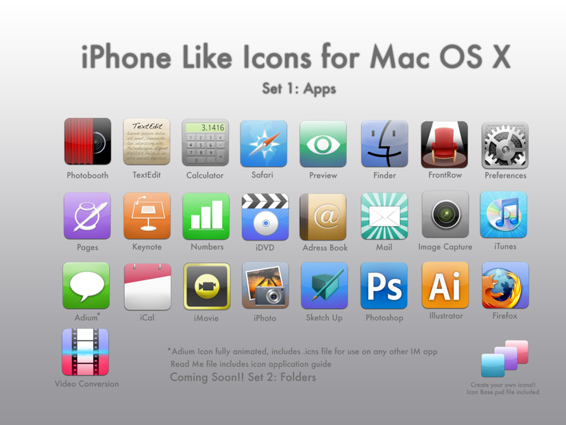 iPhone Like Icons for Mac OS X by zorrilla069 on DeviantArt