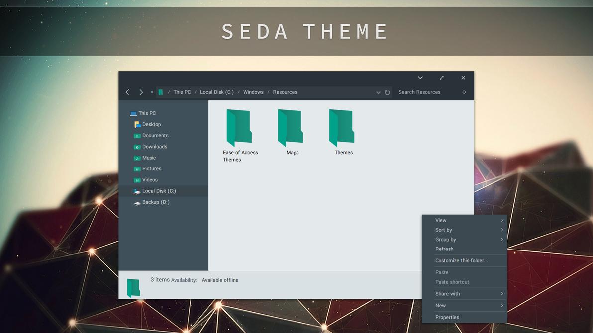 SEDA Theme for Windows 10 RS4 - SkinPack - Customize Your