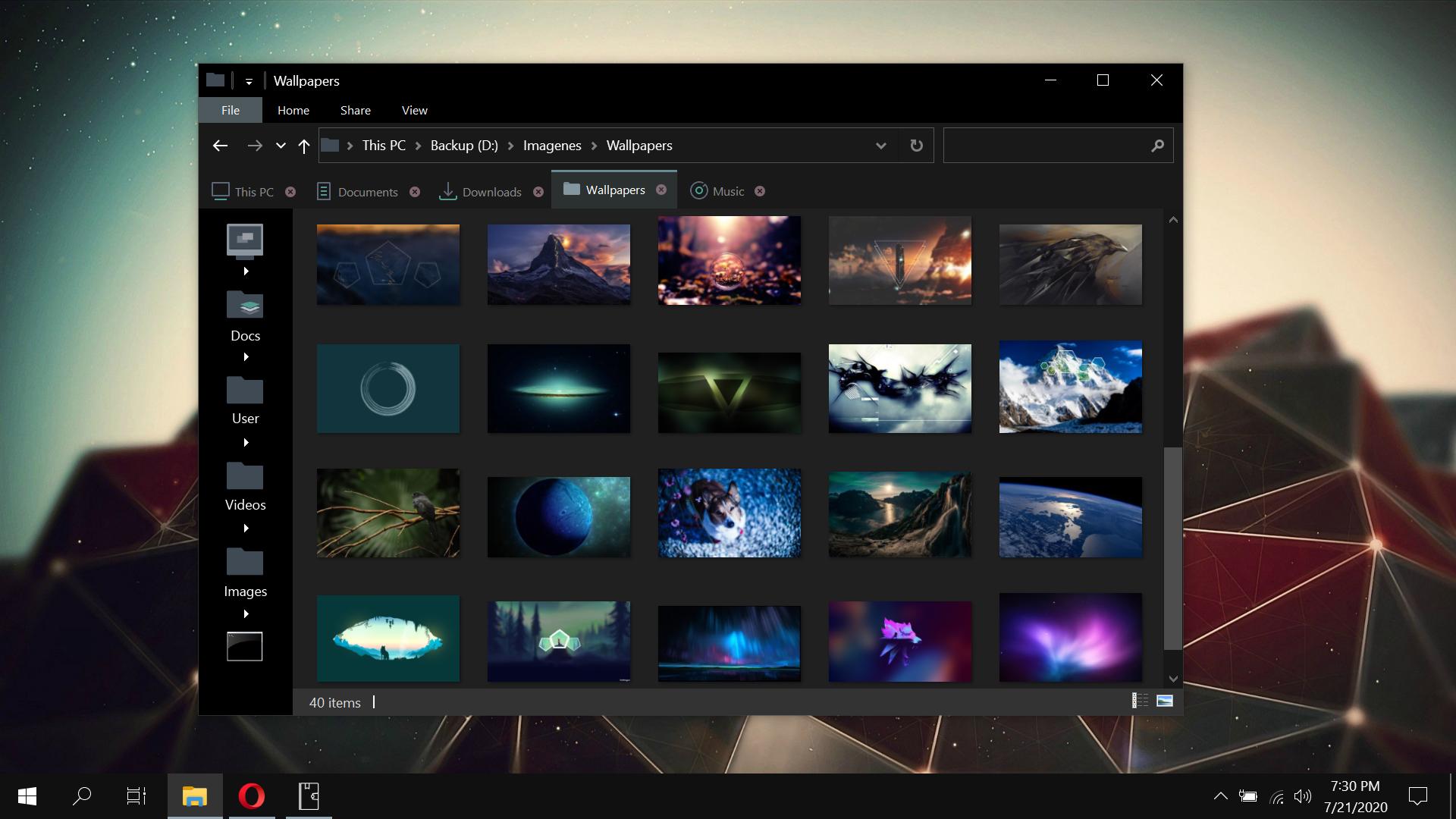 Windows 10 Explorer With QTTabBar Dark Theme