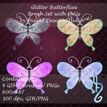 Glitter Butterflies Brush Set with PNGs Included