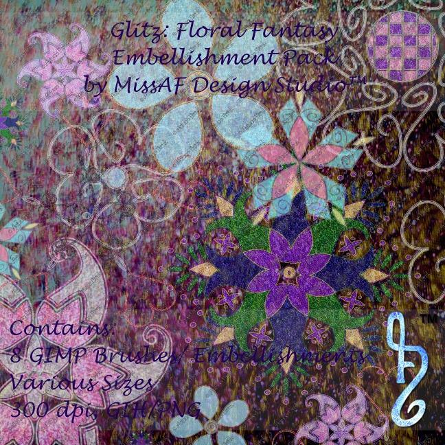 Glitz: Floral Fantasy Brush and Embellishment Pack by MissAFDesignStudio