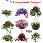 9 Hanging Basket Flowerpot by Dalidas-Art