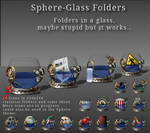 Sphere folder icons in a glass
